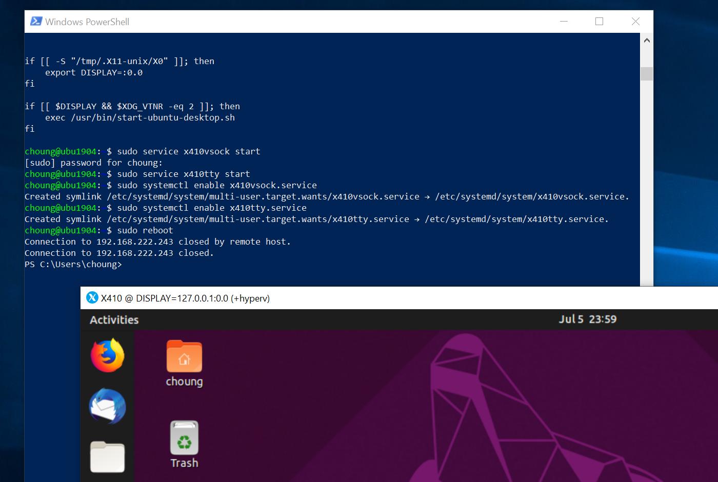 Using X410 with Hyper-V Linux Virtual Machines via VSOCK