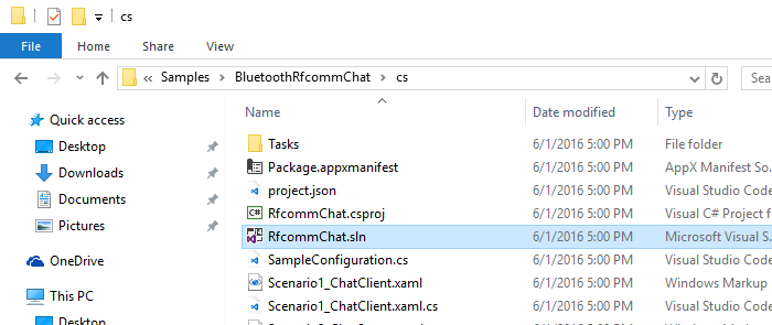 Bluetooth/RFCOMM communication example with Windows IoT